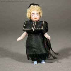 Rare Antique All-Bisque Lilliputian Doll - The Priest