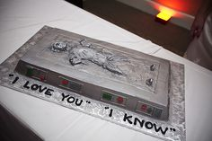 """I love you.""  ""I know.""  Groom cake from Star Wars wedding."