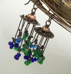 Copper RoundAbout Earrings Blue Green by annamei on Etsy