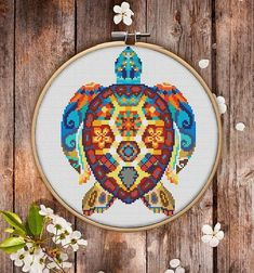 This is modern cross-stitch pattern of Mandala Turtle for instant download. You will get 7-pages PDF file, which includes: - main picture for your reference; - colorful scheme for cross-stitch; - list of DMC thread colors (instruction and key section); - list of calculated