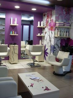 find this pin and more on salon designs white and purple hair salon decor