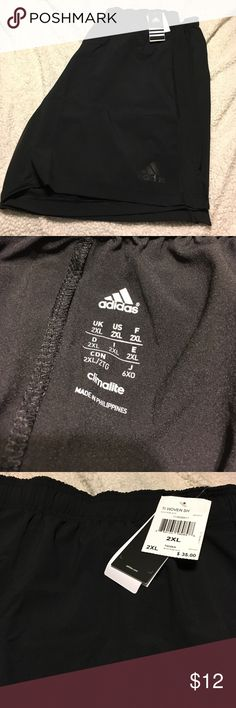 NWT adidas men's 2XL climate shorts NWT, adidas climalite men's 2XL black shorts with black emblem.  Never worn, new with tags!  Bought these for my guy and they're too big!  Great for gifting!  Elastic waist with tie to pull as well.  Extremely soft material! Adidas Shorts Athletic