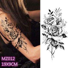 1 Piece Black Rose Peony Temporary Tattoos For Women Kids Body Art Arm Leg Tatoo Paper Fake Tattoo Sticker Flower Temporary Tattoos Arm Sleeve Tattoos For Women, Lace Sleeve Tattoos, Unique Half Sleeve Tattoos, Rose Tattoos For Women, Shoulder Tattoos For Women, Lace Tattoo, Rose Drawing Tattoo, Flower Tattoo Drawings, Full Body Tattoo