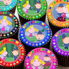 BEN AND HOLLY COLOURFUL MIXED HAPPY BIRTHDAY EDIBLE CUPCAKE TOPPER DECORATION | eBay