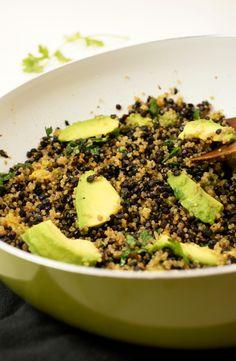 Black Lentil Quinoa Salad with Avocado