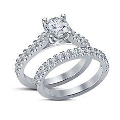 Simulated Round Cut Diamond Silver Plated Engagement Wedding Bridal Ring Set  #affordablebridaljewerly #EngagementBand