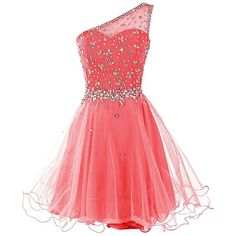 Dresstells Short One Shoulder Prom Dresses Tulle Homecoming Dress with... ($30) ❤ liked on Polyvore featuring dresses, pink, beaded prom dresses, pink prom dresses, tulle prom dress, short homecoming dresses and red prom dresses