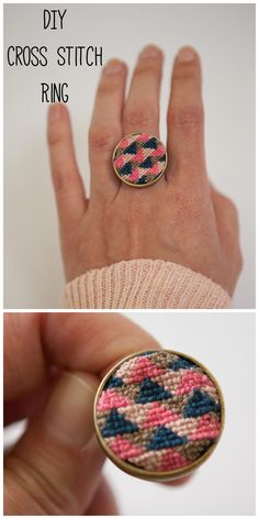 DIY Cross Stitch Ring Tutorial from Nearly Crafty.You only need a ring blank…