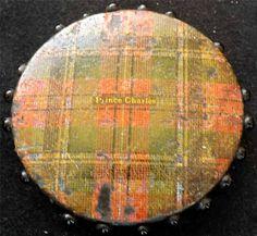ANTIQUE 19thC MAUCHLINE TARTAN-WARE SMALL ROUND PIN CUSHION - PRINCE CHARLES
