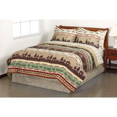 Mainstays Fishing Adventure Bed in a Bag Bedding Set - with coordinating red blanket and pillows