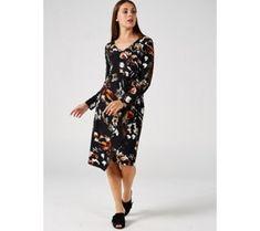 Ronni Nicole V Neck Long Sleeve Dress - 179363 Qvc Uk, Ronni Nicole, Dresses With Sleeves, V Neck, Long Sleeve, Shopping, Fashion, Moda, Sleeve Dresses