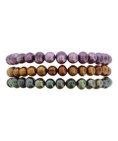 Another great find on #zulily! Green, Brown & Purple Pearl Bracelet Set #zulilyfinds