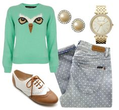 Polka Dot Jeans, animal sweater, oxfords and gold jewelry?? hello supercuteoutfit!