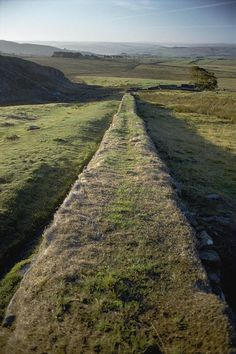 An elevated view along Hadrian's wall - United Kingdom