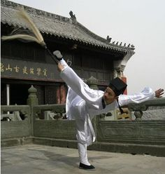 Kung Fu Taoist monk wearing traditional Wudang Daofu. His kung fu weapon is a horsetail whisk, which is a lot of fun to play. I love the fluidity and coiling grace of Wudang kung fu.