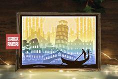 #153 Italy Map- Paper cut light box template, die cut (901057) | Paper Cutting | Design Bundles Shadow Light Box, Shadow Box Frames, 3d Paper, Paper Gifts, Paper Cutting, Paper Cut Design, Italy Map, Frame Crafts, Craft Frames