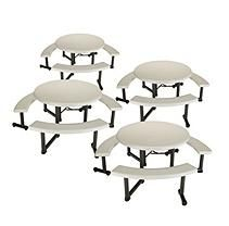 """Lifetime 44"""" Round Picnic Table with Swing-Out benches - Almond - 4 Pk"""