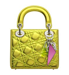 Christian Dior Anselm Reyle Small metallic yellow leather  Lady Dior  bag  with  Cannage bf6032f7e8