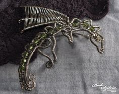 DRAGON  wire wrapped ear wrap - silver and green by bodaszilvia, $43.50