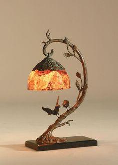 Maitland-Smith Finely Cast Verdigris Patina Brass Birds on Limb Lamp, Inlaid Penshell Shade