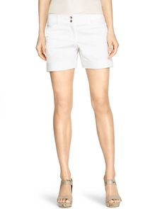 White Sateen Flat Front Shorts