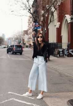 sneakers with culottes and black top