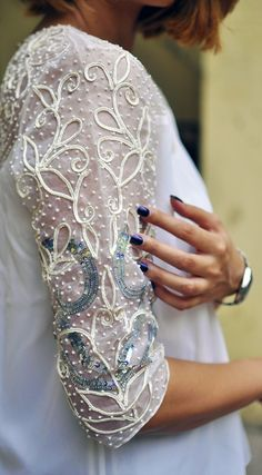 Soutache hand-embellished sequined peasant top from Ether by Shivani Kapadia