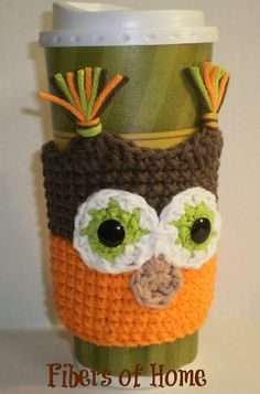 CoffeeCozy - Brown and Orange Owl -- Hand Crafted. $8.00, via Etsy.