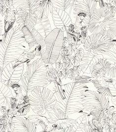 Parrot Jungle by Albany - Black / White - Wallpaper : Wallpaper Direct Monkey Illustration, Plant Illustration, Graphic Design Illustration, Parrot Wallpaper, Nursery Wallpaper, Albany Wallpaper, Black And White Wallpaper, Black White, Leaf Outline