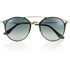 Ray-Ban Highstreet Double Bridge Round Sunglasses ($180) ❤ liked on Polyvore featuring accessories, eyewear, sunglasses, one colour, retro style sunglasses, uv protection sunglasses, ray ban eyewear, black lens sunglasses and round lens sunglasses