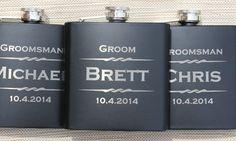Engraved Flask- Personalized Black Flasks, Groomsmen gift, Wedding Favor, Best Man, Usher, Father of the Groom, Bride
