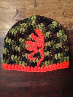 Camo crochet hat with blaze orange Browning symbol Crochet Kids Hats, Crochet Beanie, Crochet Baby, Knitted Hats, Knit Crochet, Crochet Animals, Yarn Crafts, Sewing Crafts, Crochet Woman
