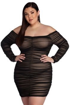 Plus Size Black Off The Shoulder Long Sleeve Bodycon Mini Dress. This super sexy black off the shoulder mini bodycon dress in plus size with long sleeves and mesh overlay. Plus Size Club Dresses, Plus Size Black Dresses, Plus Size Bodycon Dresses, Plus Size Gowns, Plus Size Dresses, Plus Size Outfits, Windsor, Mini Party, Dresser
