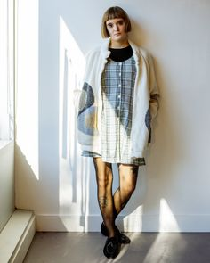 Modern + Vintage fall sweater jacket with layered 90s plaid dress