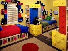 """http://seattletimes.nwsource.com/html/living/2008086468_kidsorganize02.html A Legos theme and lots of cubby holes for storage were incorporated into this room shared by two toddlers. The """"Lego"""" dots were made from Styrofoam. And, yes, you can do it in a small room. Lowell suggests building shelves wall to wall and floor to ceiling. Fill them with bins. Or you can ...continue reading"""