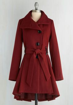 Winterberry Tart Coat in Burgundy by Steve Madden - Red, Solid, Long Sleeve, Buttons, Pleats, Fall, Winter, Long, Red, 3, WPI, Gals, Party, Work, Casual, Holiday Party