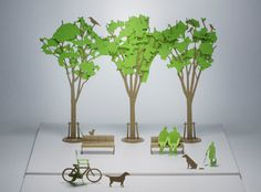 Good news for designing office staff who pull off all-nighters!! It's a street tree version, the tenth shot of the Architectural Model series, which you can easily assemble simply by tearing off the precut parts.  4 street trees inspired by zelkova are included. The leaves and branches are separated in parts, and the sense of the season can be created. The simple modeling, which omits fine details, is also highly versatile and complements the sense of scale. #architecture