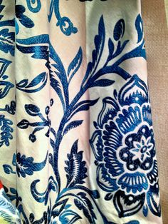 This beautiful Thibaut fabric from their new Mandalay collection is on trend for its stunning blue hues and elegant embroidery. Market Square 315 #HPmkt