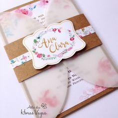 convite artesanal para casamento ou aniversário infantil ou 15 anos rústico kraft floral aquarelado boho chic
