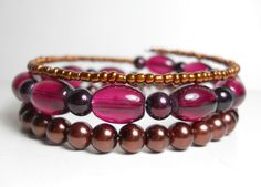 Bohemian Wrap Bracelet Autumn Brown and by WrappedandSnapped
