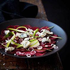 Beetroot carpaccio with Saint Agur and green asparagus. Beetroot Carpaccio, Bon Appetit, Cobb Salad, Asparagus, Green, Food, Meals