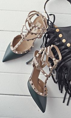 Winter green studded pumps