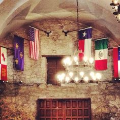 On the inside of the Alamo there is one wall devoted to holding six different flags. These flags represent the six different nations that reigned over Texas. It shows the history of Texas and how Texas has been influenced in different ways over the years. Only In Texas, Republic Of Texas, Texas Forever, Texas Flags, Loving Texas, Texas Pride, Lone Star State, San Jacinto, Texas History