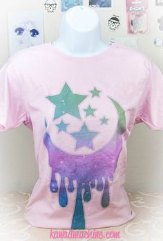 Milky Dripping Crescent Moon and Stars Graphic T Shirt Kawaii Fairy Kei Pastel Goth by thekawaiimachine on Etsy https://www.etsy.com/listing/156433268/milky-dripping-crescent-moon-and-stars