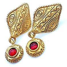 90's Venue USA Ruby Red Cabochon Gold Tone Dangle Pierced Post Earrings #Venue #DropDangle 90s Jewelry, Ruby Red, Dangles, Drop Earrings, Usa, Gold, Drop Earring, U.s. States, Yellow