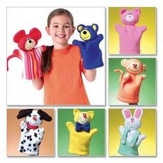 Uncut sewing pattern includes paper pattern pieces and instructions to make seven animal hand puppets including a bunny, bear, mouse pig, cat, dog and monkey. Glove Puppets, Felt Puppets, Puppets For Kids, Felt Finger Puppets, Puppet Crafts, Doll Crafts, Kids Crafts, Puppet Patterns, Sewing Patterns