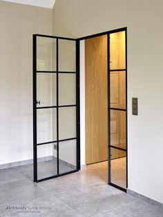 Bedroom Door Design, Home Room Design, Home Interior Design, Interior Windows, Apartment Interior, Living Room Modern, Home Living Room, Attic Bedroom Closets, Steel Frame Doors
