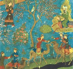 """Mohammed (upper right) visiting Paradise while riding Buraq, accompanied by the Angel Gabriel (upper left). Below them, riding camels, are some of the fabled houris of Paradise -- the """"virgins"""" promised to heroes and martyrs. This image and the following five images are Persian, 15th century, from a manuscipt entitled Miraj Nama, which is in the Bibliotheque Nationale, Paris. Taken from The Miraculous Journey of Mahomet"""