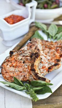 Bourbon Grilled Pork Chops with Peach Barbecue Sauce | Edible Austin