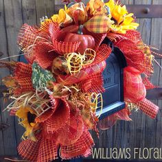 Fall Mesh Mailbox Swag m2 by WilliamsFloral on Etsy, $60.00